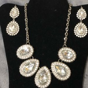 White Gold Tone Diamond Stmt. Necklace & Earrings